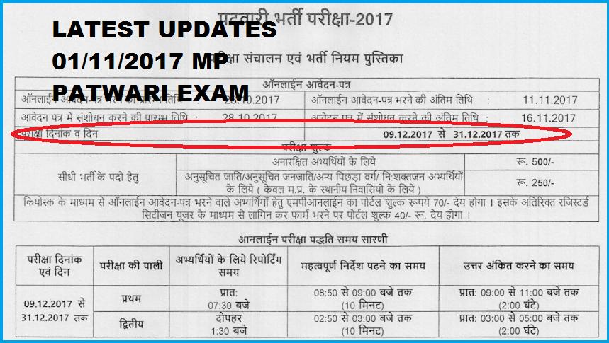 MPPEB Patwari Exam Admit Card 2018-MP Patwari Call Letter ...