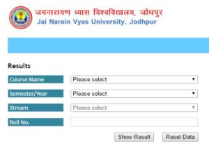 JNVU BA 2nd year Result 2021, जय नारायण व्यास यूनिवर्सिटी Private & Regular Name Wise 2