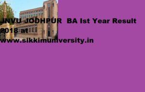 JNVU BA Part I Result 2019: Jodhpur University BA Ist Year