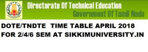TNDTE Diploma Sem. Exam Schedule/Time Table April 2020, DOTE Polytechnic Exam Routine 2020 1