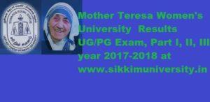 Mother Teresa Women's University Results 2021 Name Wise Part I, II, III Year UG/PG Exam 1