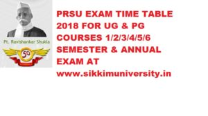 PRSU Schedule/Date sheet 2020  Part I, II, IIIrd year BA BCOM BSC MA MSC Exam 1