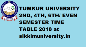 Tumkur University 2/4/6 Sem Time Table 2020 Part I, II, III Year BA BSC BCOM Exam 1
