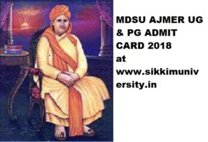 MDSU Admit Card 2021 for Part I, II, III - MDSU Ajmer BA BSC BCOM Hall Ticket 2021 Download 1