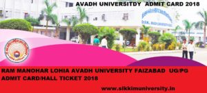 Avadh University Admit Card 2020 for Part I, II, III BA BSC BCOM,MA, MCOM Exam 1