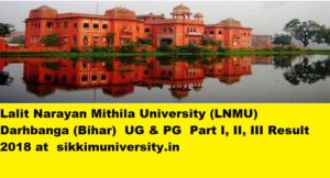 LNMU UG Part I, II, III year Result 2019, Mithila University