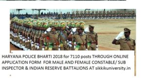 HSSC Recruitment Online 7110 Haryana Police Male/Female Constable, SI & Reserve Battalions Jobs 2018 2
