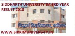 Siddharth University BA Final Year Result 2019, SU Kapilvastu BA IIIrd Year Result 2019 1