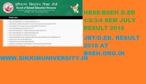 HBSE JBT/D.Ed Result July 2021 Regular/Reappear Ist, 2nd, 3rd, 4th Sem. Exam @bseh.org.in 2