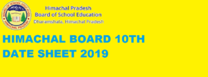 HPBOSE 10th Class Date Sheet 2020, Download Himachal Board Matric Exam Time Table 2020 1
