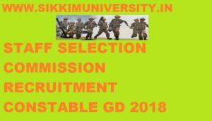 SSC Constable GD Recruitment 2018 - SSC Constable 54953 ITBP, NIA, SSB, CISF, CRPF, BSF, SSF, Assam Rifles Posts 1
