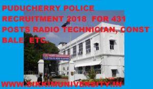 Puducherry Police Recruitment 2018 for 431 Constable Radio Technician Deck Handler Vacancies 1