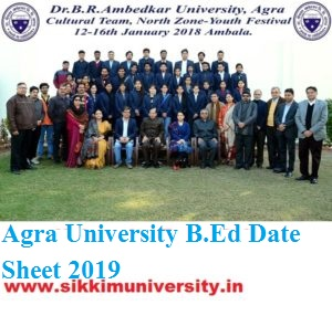 Agra University B.Ed Ist/2nd Year Time Table 2020 DBAU BED Part First/Second Date sheet 1