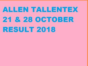 ALLEN TALLENTEX 20 Oct. 2019 Result (Vth to XIth Class) Exam 1