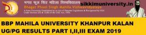 BPSM Vishwavidyalaya Results 2021 Part Ist, 2nd, 3rd Year - BPSMV UG/PG Results 2021 1
