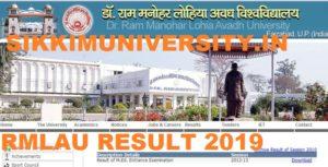 RMLAU Faizabad Results 2020, Avadh University Result Part 1,2,3 BA BCOM BPE Exams 2020 1
