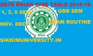 SBTE Bihar Diploma Time Table Ist, 3rd, 5th Nov./Dec. 2019 Polytechnic Exam Schedule 1
