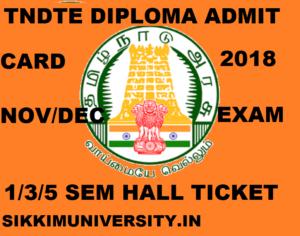 TNDTE Diploma Admit Card Nov/Dec 2020, DOTE Ist, 3rd, 5th Sem. Hall Ticket 2020 Odd Sem 1