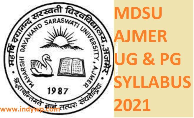 MDSU Ajmer BA Syllabus Additional 2021, MDSU Ajmer Syllabus, BA Additional Syllabus 2021 1