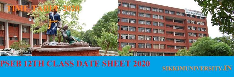 PSEB 12th DATE SHEET 2020 Download PDF Time Table Punjab Board Mohali Exam Date 1