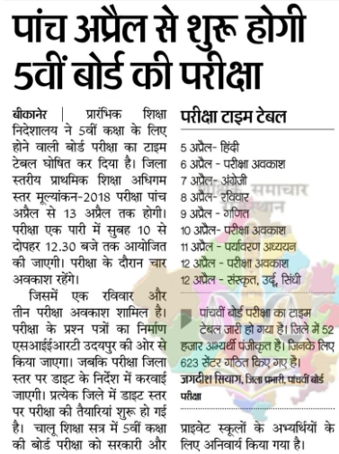 Rajasthan Board 5th Time Table 2021 - Ajmer Board पांचवी परीक्षा Date, RBSE PrimaryTime Table 2