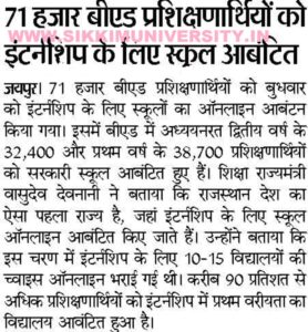 Rajasthan बी एड  Internship School Allotment List 2020 Round Ist & 2nd 2
