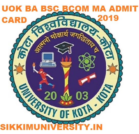 Kota University Admit Card 2020, UOK BA BSC BCOM MA Exam Hall ticket 2020 Download 1