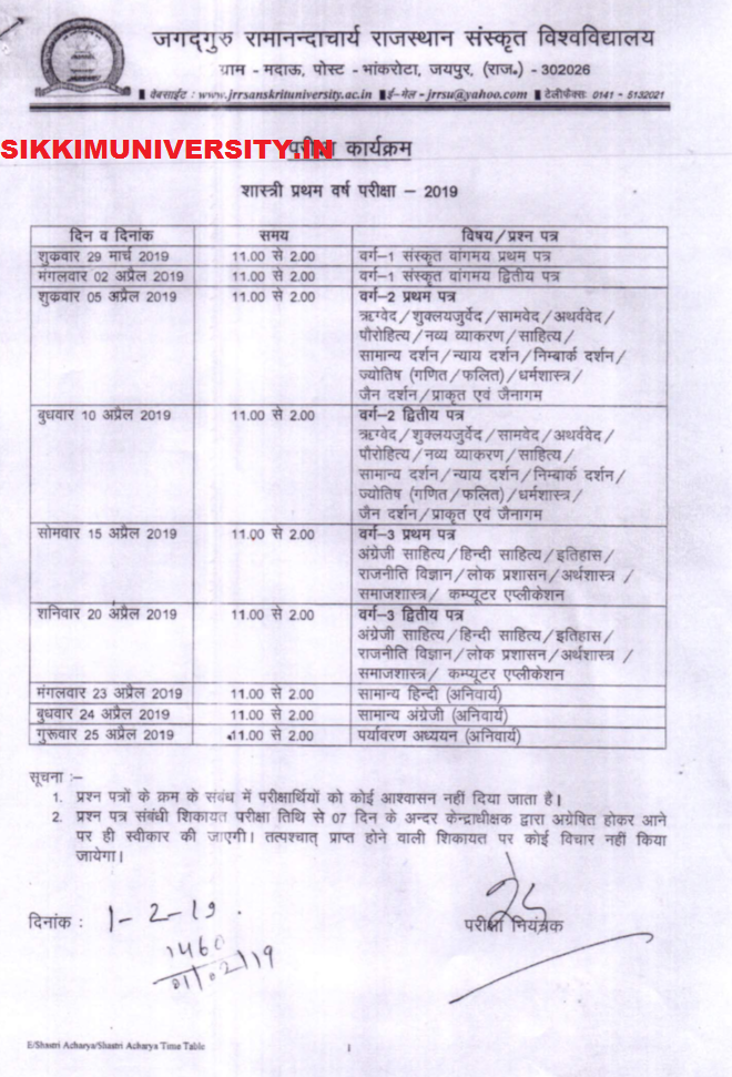 JRRSU Exam Schedule 2020 for Acharya Time Table  & BA Shastri at Jrrsanskrituniversity.ac.in 2