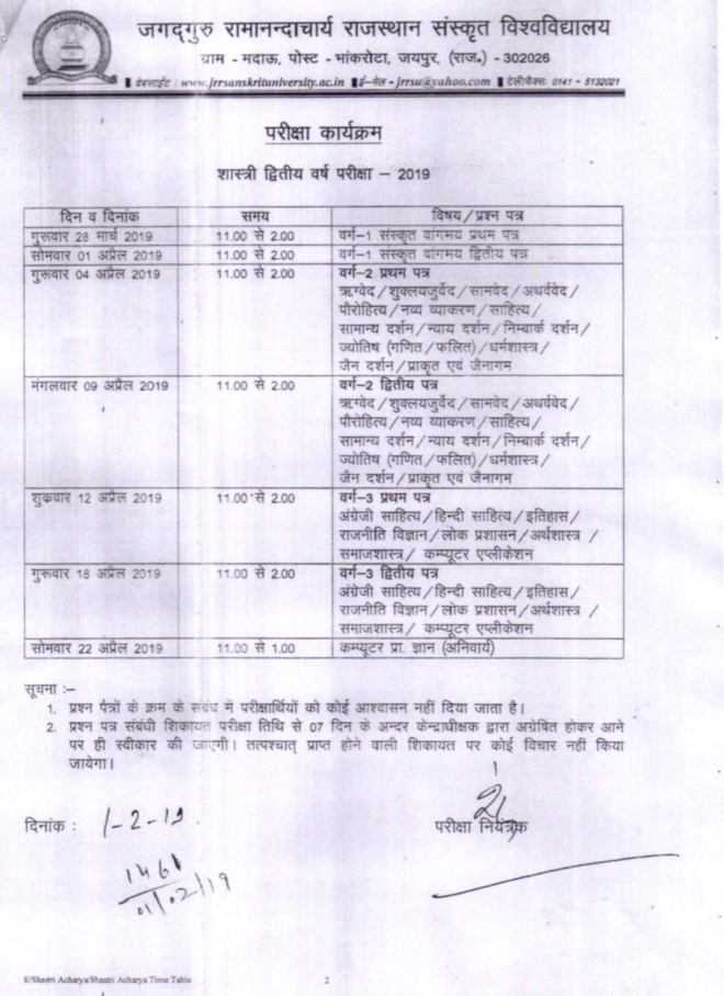 JRRSU Exam Schedule 2020 for Acharya Time Table & BA Shastri at Jrrsanskrituniversity.ac.in 3