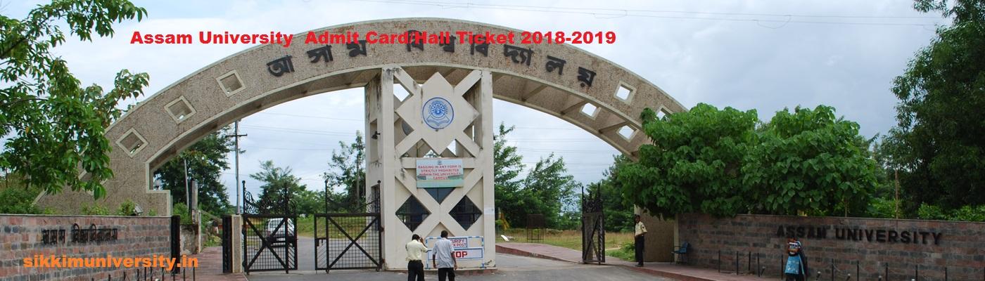 Assam University Silchar Admit card 2020 BA BCOM BSC MSC MA  MCOM Hall Ticket 1