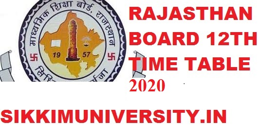 RBSE 12th Date Sheet Feb/March 2021, BSER Ajmer 12th Exam Time Table 1