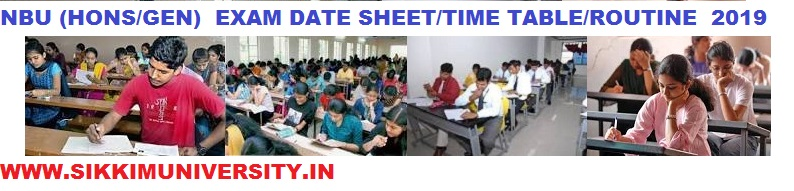 NBU (Hons) Exam Time Table 2020- NBU BA BSC BCOM Exam Routine 2020 Part I, II, III Year 1