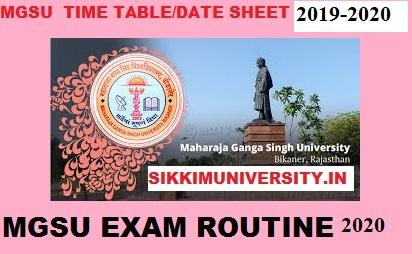 MGSU Date sheet 2020 Part I, II, III BA BSC BCOM Private & Regular Exam 1
