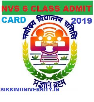 NVS 6th Class Entrance Test  Admit Card 2019 JNV Smiti VI Hall ticket 1