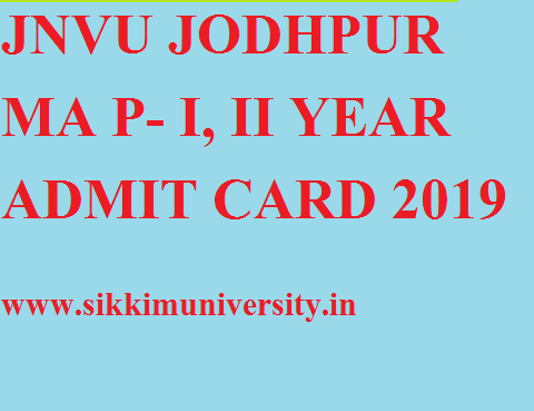 JNVU MA Prev. & Final year Admit Card 2019 MA Part I, II Name Wise Hall ticket 1