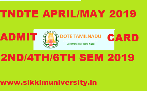 TNDTE Diploma Admit Card April/ May 2020, DOTE 2nd, 4th, 6th Sem. Hall Ticket 2020 Even Sem. 1