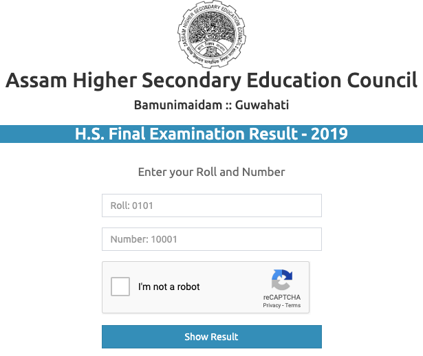 Assam Board 12th Result 2019