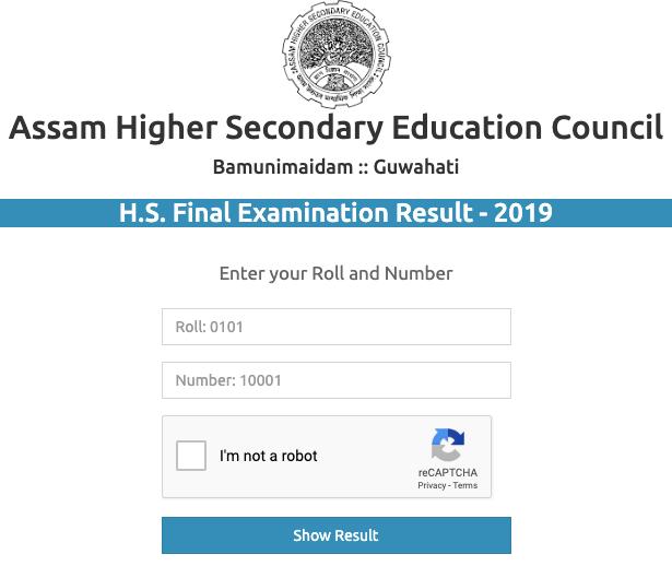 Assam Board 12th Result 2019