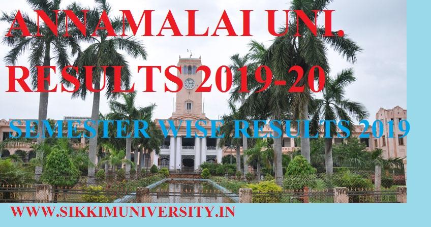 Annamalai University DDE Sem. Results 2020 BBA BSC BA BCOM MA MBA Exam Results 1
