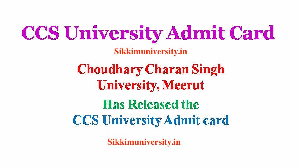 CCSU B.Ed Ist & 2nd Year Admit Card 2019