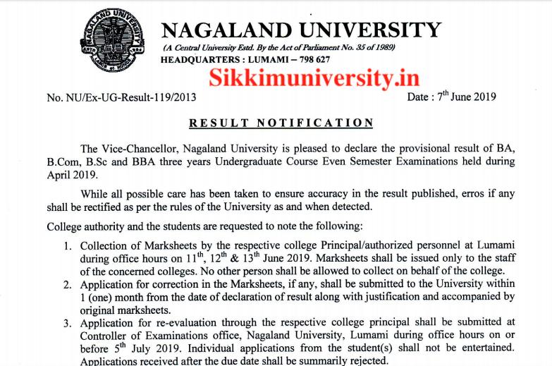 Nagaland University 2nd: 4th: 6th Sem Exam Results 2019