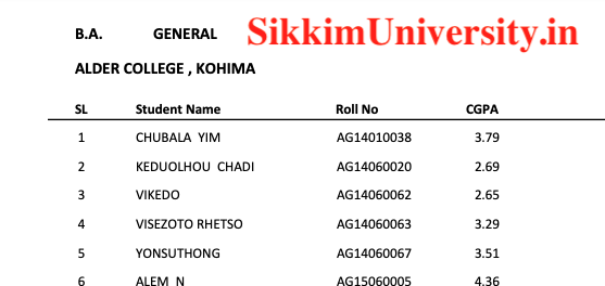 Nagaland University 1/2/3/4/5/6 Sem Results 2019 for BCOM