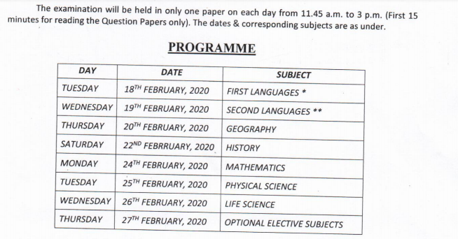 West Bengal Board 10th Routine 2020- PDF WBBSE Madhyamik Exam Schedule 2020 2