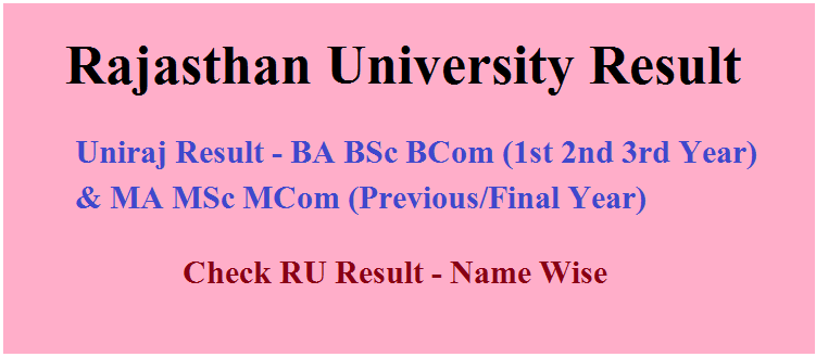 Rajasthan University 1st, 2nd, 3rd Year Result 2020 BA BSC BCOM MA MSC MCOM Exam 2