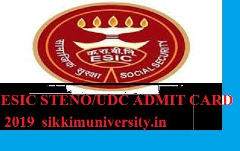 ESIC 1934 Posts UDC/Steno Admit Card 2019- Download UDC & Steno Admit Card Now 1