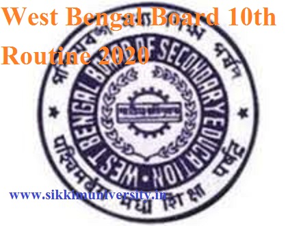 West Bengal Board 10th Routine 2020- PDF WBBSE Madhyamik Exam Schedule 2020 1
