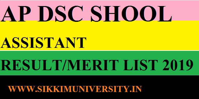 AP DSC Various Posts School Assistant Result 2019 Download Merit/Selection List Pdf 1