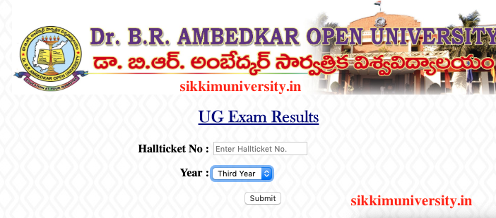 BRAOU UG/PG BA/BSc/B Com Degree Results 2019 1/2/3 years Dr
