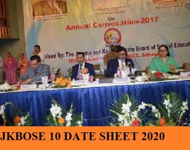 JKBOSE 10th Exam Date 2020; JK Board Xth class Schedule 2020 1