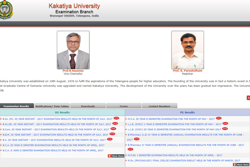 Kakatiya University  Degree 2:4:6 Semester Result 2019